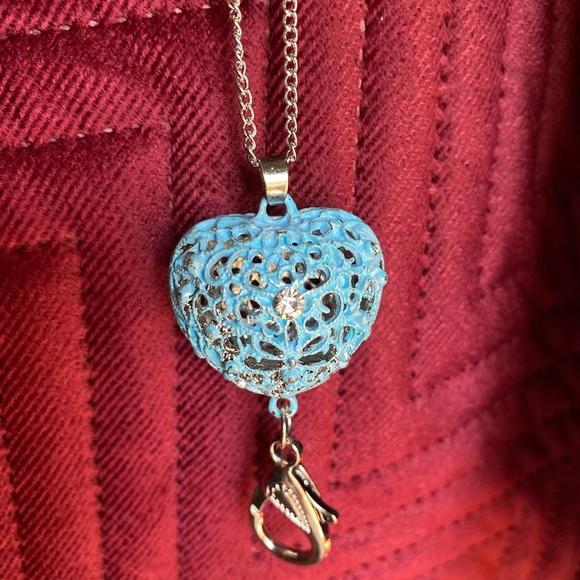 Blue heart lanyard